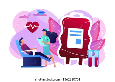 Nurse with donor sitting in medical chair and donating blood in donation bag. Blood donation, blood donor, hemolytic transfusion bank concept. Bright vibrant violet vector isolated illustration
