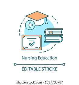 Nurse education concept icon. Medical qualification idea thin line illustration. Nursing care, service degree vector isolated outline drawing. Therapist, physician, doctor diploma. Editable stroke