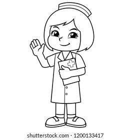 Nurse Girl Friendly Welcoming Pose BW.