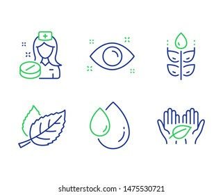 Nurse, Gluten free and Leaf line icons set. Health eye, Oil drop and Fair trade signs. Medicine pill, Bio ingredients, Nature leaves. Optometry. Healthcare set. Line nurse outline icons. Vector