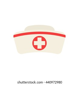 Nurse hat with cross isolated on white background. Flat icon. Nurse hat closeup