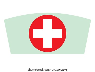 Nurse hat,  isolated vector illustration, blue,red and white colors