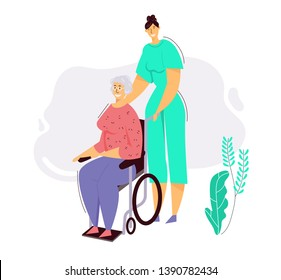 Nurse Helps Senior Woman on Wheelchair. Old Desabled People Character in Nursing Home. Social Worker Care of Patient. Medical Aid, Health Care Concept. Vector flat cartoon illustration