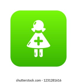 Nurse icon green vector isolated on white background