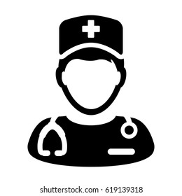 Nurse Icon - Vector Medical Assistant with Stethoscope and Cap for Health Care Services in Glyph Pictogram illustration