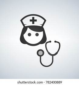 Nurse Icon - Vector Medical Assistant with Stethoscope and Cap for Health Care Services