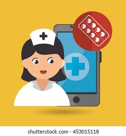 nurse and lab isolated icon design, vector illustration graphic