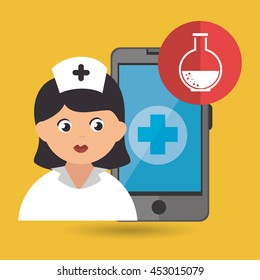 nurse and laboratory isolated icon design, vector illustration  graphic