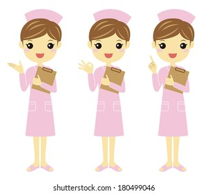 Nurse in light pink uniform with different poses /Vector illustration