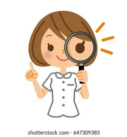 Nurse and magnifying glass.