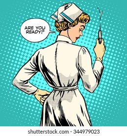 Nurse makes a shot vaccination pop art retro style. Medicine and health. Doctor treatment profession the patient