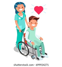 Nurse with male patient child in wheelchair day hospital isometric heropeople smiling in isometric cartoon style vector illustration images