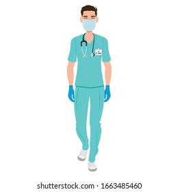 Infirmière avec masque et gants contre coronavirus. Concept de précaution médicale. Illustration vectorielle dessin à plat d'une infirmière mâle.