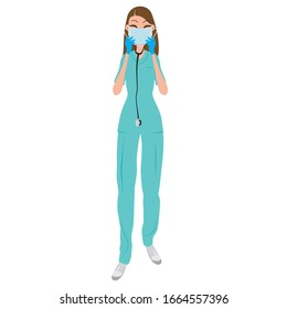 Infirmière avec masque et gants contre coronavirus. Concept de précaution médicale. Illustration vectorielle dessin à plat d'une infirmière.