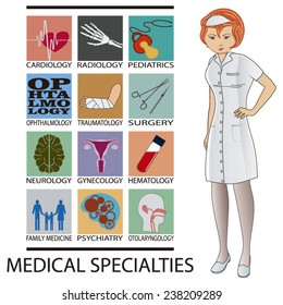 nurse and medical specialties icons on white background