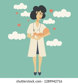 nurse midwife with a newborn in her arms on the background of hearts and clouds