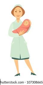 Nurse with newborn baby in swaddle vector cartoon