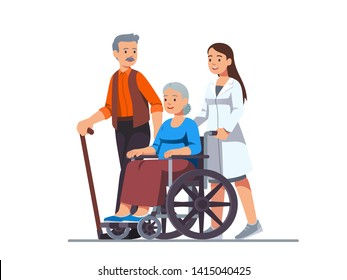 Nurse pushing wheelchair with sick or disabled old woman next to his aged husband walking with cane. Elderly people family couple receiving help & care. Flat vector character illustration