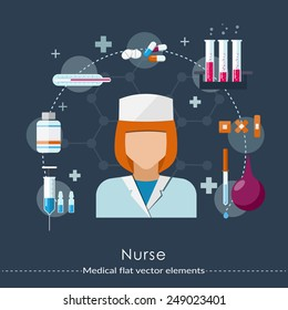 Nurse set in flat style. Healthcare and medical concept. Vector illustration.