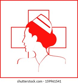 Nurse. Nurse side view. Isolated Nurse Icon over the white cross and white background. - Vector Illustration