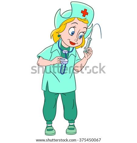 Nurse Stethoscope Medical Syringe Cartoon Character Stock Vector ...