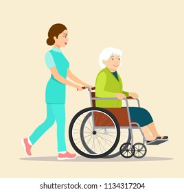 Nurse strolling with elder grey haired woman in wheelchair. Vector flat style illustration