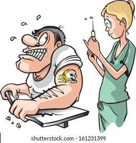 Nurse and strong Man. A cartoon of a nurse about to give a shot to a scared adult muscle bound male. Layered vector file.