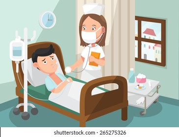 The nurse taking care of patient in the ward of hospital .illustration, vector