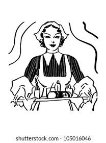 Nurse With Tray Of Medicine - Retro Clipart Illustration