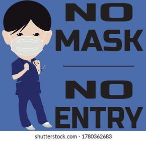 Nurse in Uniform Wearing Face Mask No Mask No Entry Sign
