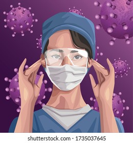 nurse using face mask and glasses ,covid19 protection vector illustration design