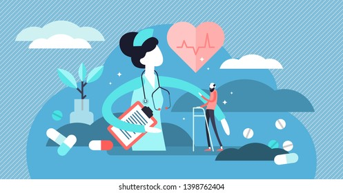 Nurse vector illustration. Flat tiny medical aid occupation persons concept. Hospital and clinic work with pharmacy drugs and pills therapy. Professional doctor assistance job uniform with stethoscope