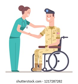 Nurse and veteran soldier in military uniform on a wheelchair. Doctor and patient with disability vector cartoon flat illustration isolated on white background.