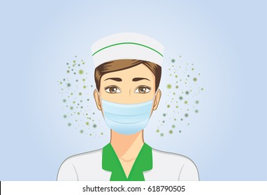 Nurse wearing facemask for protection against dust particles and bacteria that can pass into nose when working.