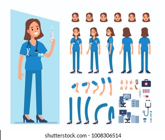 Nurse woman character constructor and objects for animation scene. Set of various women's poses, faces, mouth, hands, legs. Flat style vector illustration isolated on white background.