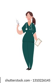 Nurse. The woman stands, in her hands syringe and hospital card, on neck phonendoscope. Cute girl in the uniform of the nurse smiles. Character vector illustration in flat style.