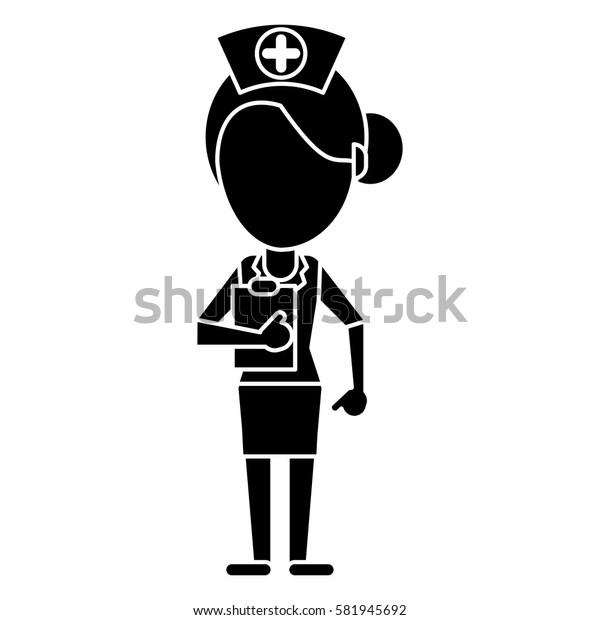 nurse work hospital clipboard pictogram