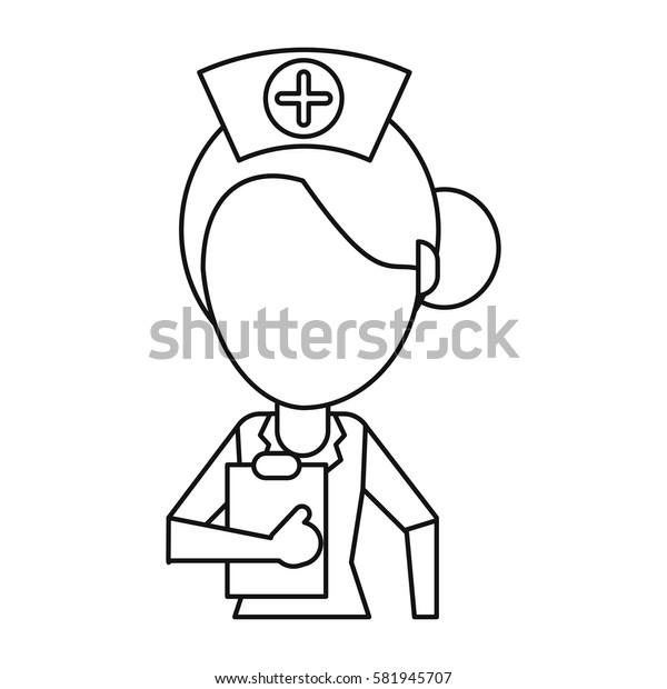 nurse work hospital clipboard thin line