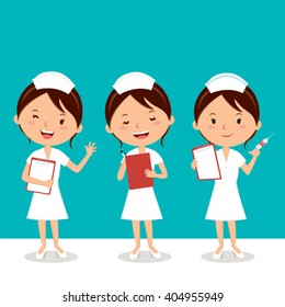 Nurse at work. Vector illustration of cheerful nurse.