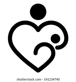 Nursery baby and mother breastfeeding, heart shaped concept, vector Isolated on white.