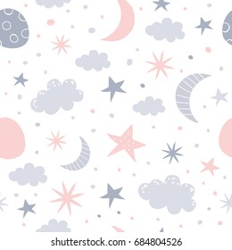 Nursery baby seamless pattern. Children vector illustration.