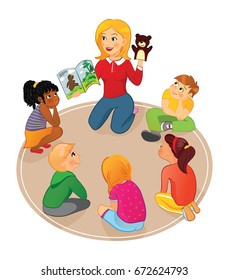 Nursery or elementary school teacher reading a book to kids and show puppet in school, preschool or kindergarden. Kids listening to a storybook.