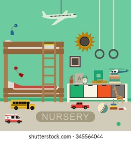 Nursery interior with furniture and toys. Vector banner of baby bedroom in flat style.