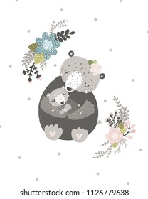 Nursery poster with cute animals Mother and baby bear, flowers Pastel colors and dots