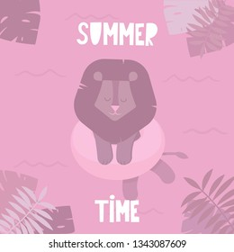 Nursery poster with cute lion on a rubber ring in the sea and the frame of leaves of tropical plants. Summer landscape: funny little lion swimming in the water. Vector illustration for children.