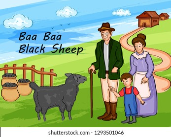 Nursery Rhymes Baa Baa Black Sheep for kids learning school education. Vector illustration