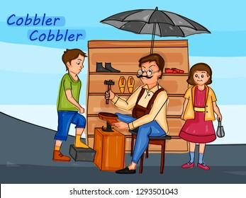 Nursery Rhymes Cobbler Cobbler for kids learning school education. Vector illustration