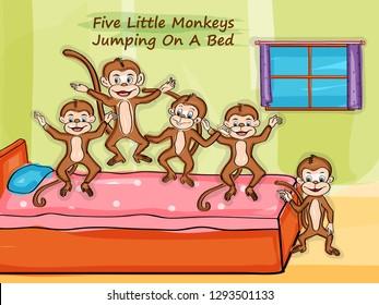 Nursery Rhymes Five Little Monkeys for kids learning school education. Vector illustration