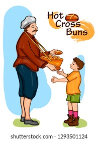 Nursery Rhymes Hot Cross Buns for kids learning school education. Vector illustration