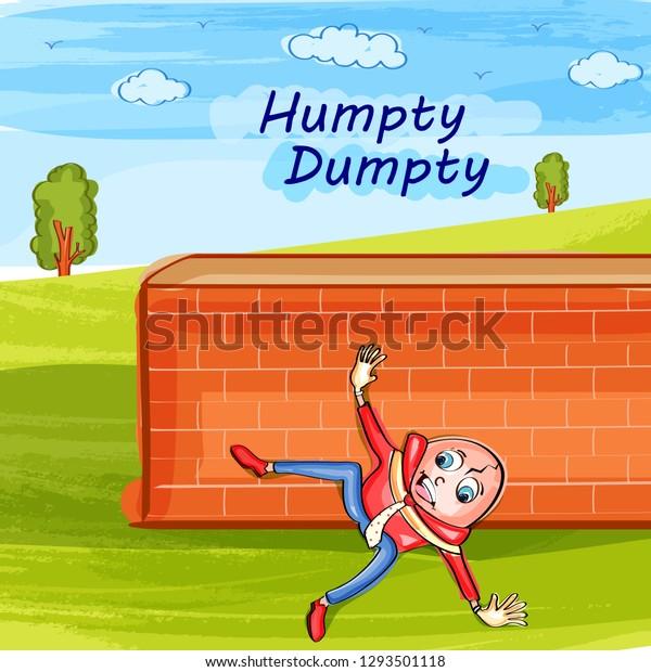 Nursery Rhymes Humpty Dumpty Kids Learning Stock Vector